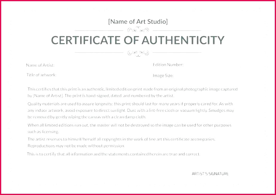 unique free printable certificate authenticity templates template 6 ure of for limited edition print