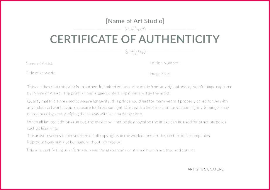 unique free printable certificate authenticity templates template 6 of autograph letter art authentication