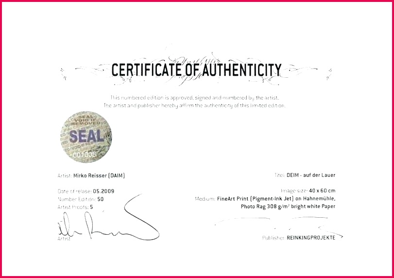 certificate letter of authenticity template free art authentication