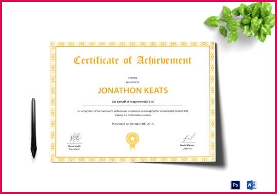 Beautiful Achievement Certificate Template