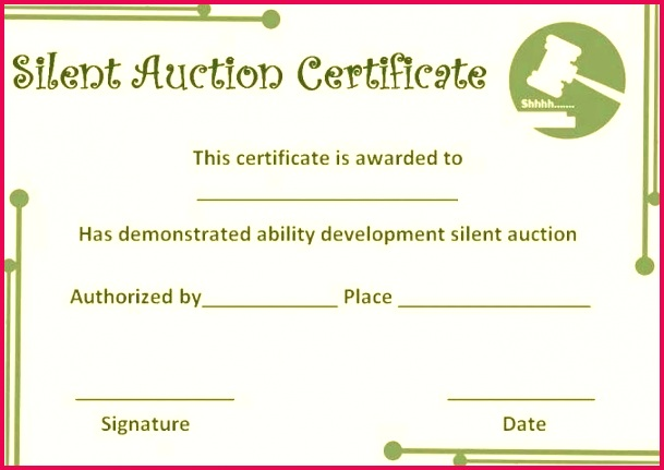 silent auction certificate template certificates prize