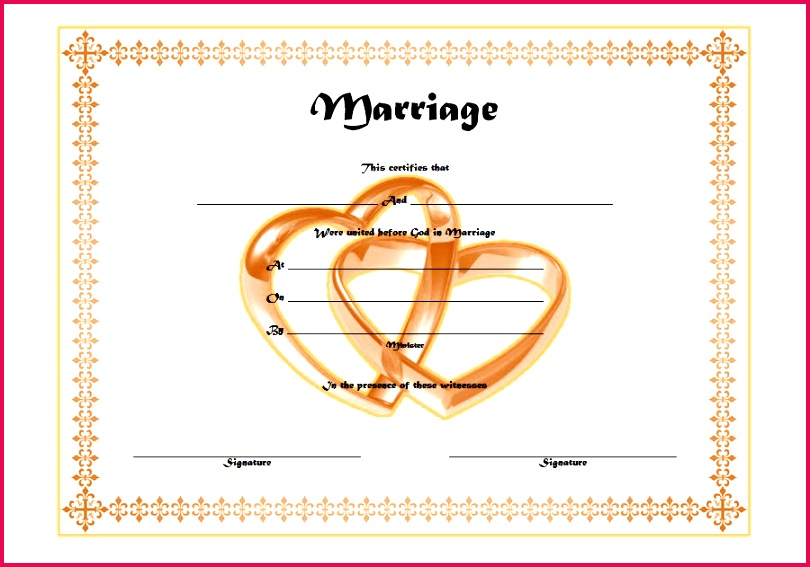 Christian Church Marriage Certificate Template Word FREE 1