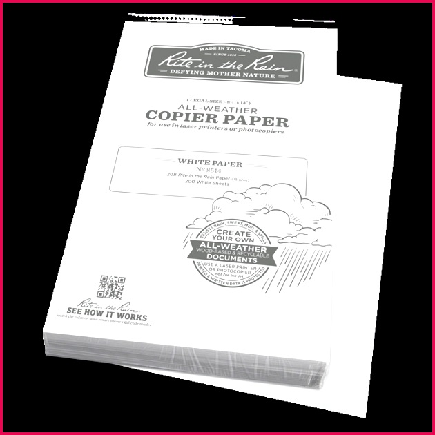 DGE 8514 8 5 X 14 200 ALL WHEATER COPIER PAPER FEUILLE IMPERMEABLE RITE IN THE RAIN