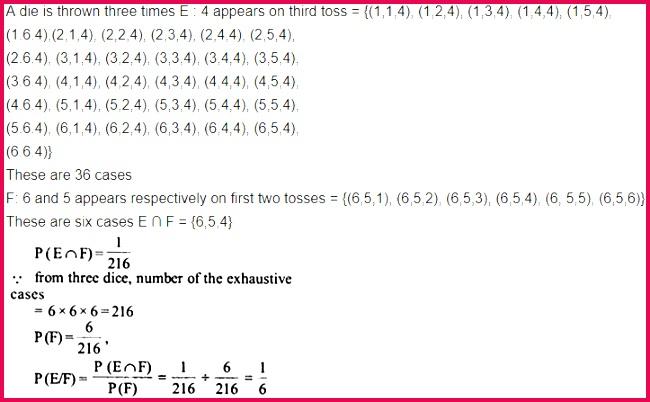 Class 12 Maths NCERT Solutions Chapter 13 Probability Ex 13 1 Q 8