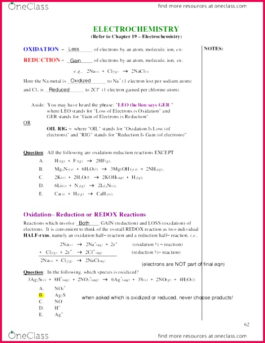 CHEM 1050 Lecture Notes Lecture 6 Oxidation State Royal Aircraft Factory F E 2 Electrochemistry