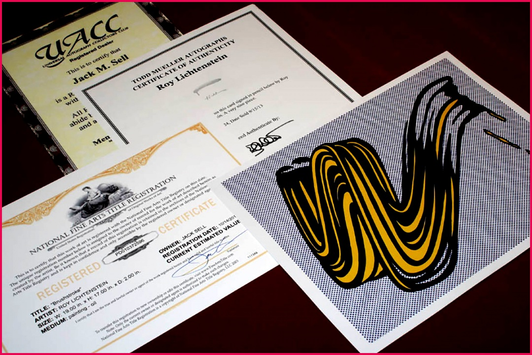 A COA for Roy Lichtensteins Brushstroke artwork Image via ebay