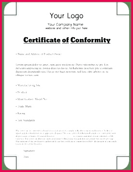certificate of pliance template for manufacturing gallery free cute templat