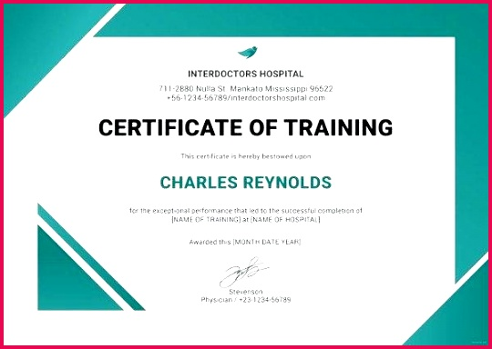 hospital training certificate template puter format basic course in word