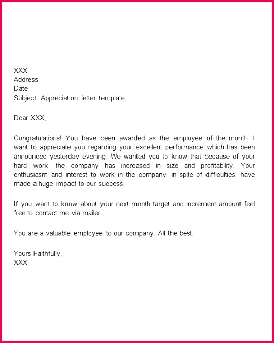 fresh appreciation letter to employee format goodbye email template congratulations award best addiction new lovely ema
