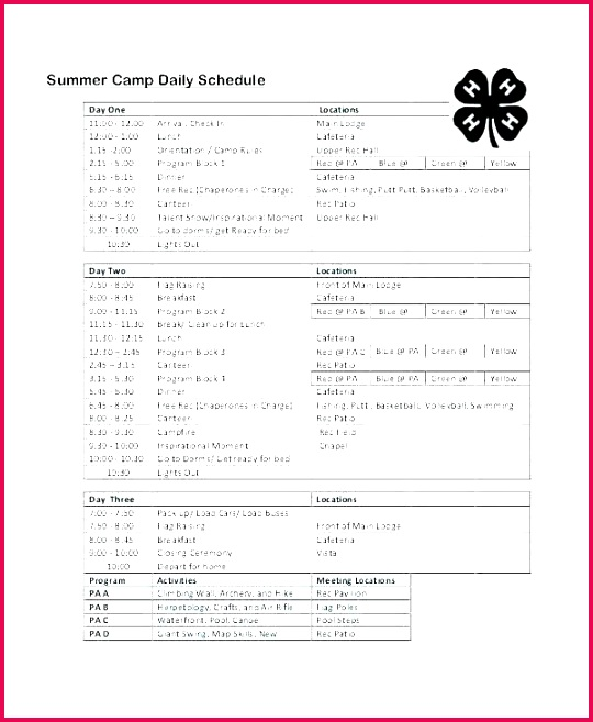 day camp schedule template tombstone summer program schedu camps activities ideas education quotes for graduates daily cub scout form
