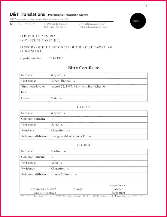 birth certificate translation template fresh near me of for im