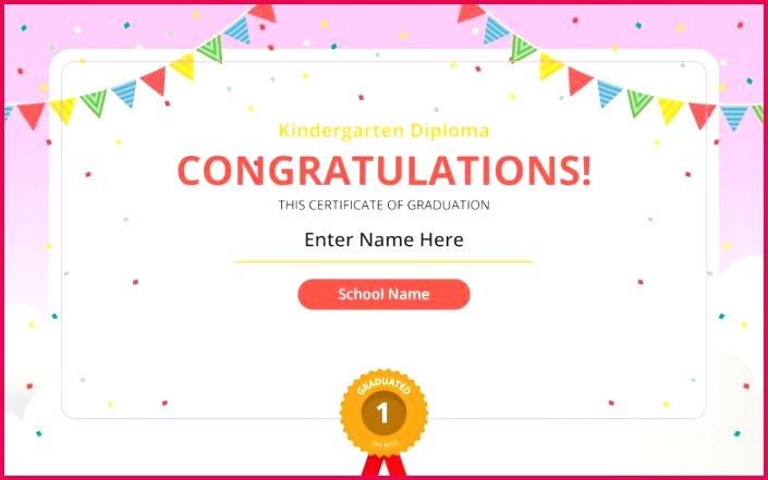 vector kindergarten diploma certificate template