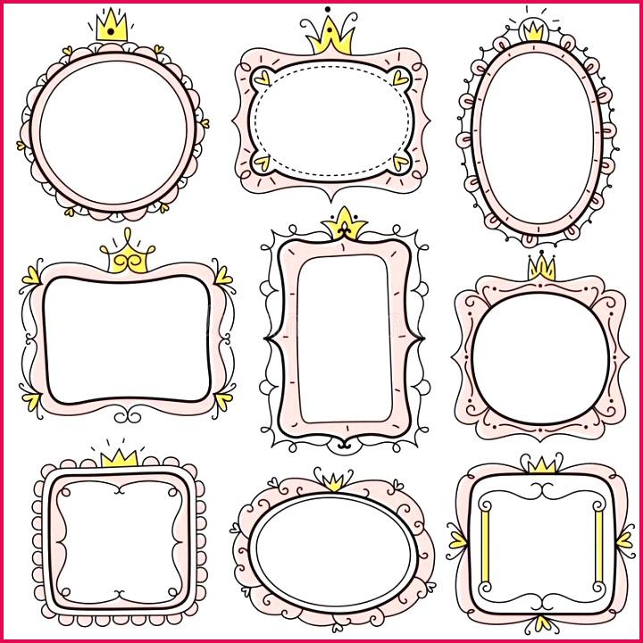 princess frames pink cute floral mirror crown kids certificate borders little girl birthday invitation card vector creative