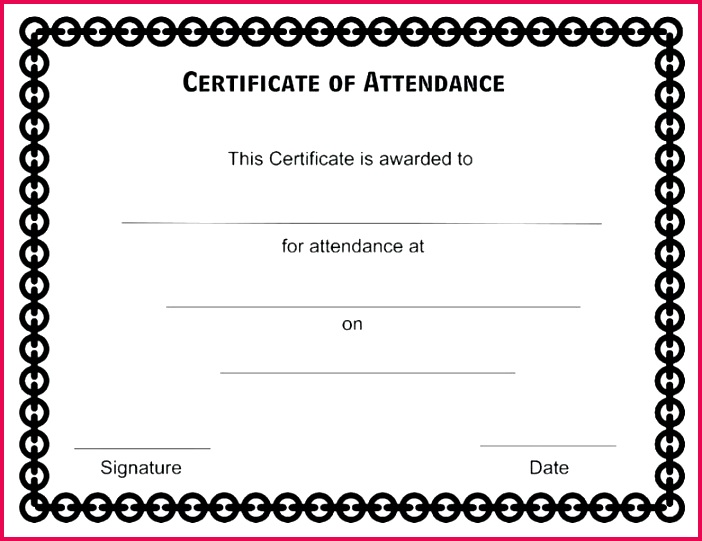 sample certificate of attendance format template perfect award