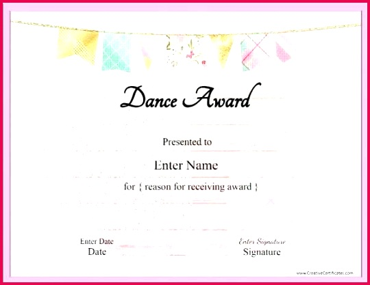 dance certificate template with a pink and frame award templates free award certificate plate printable