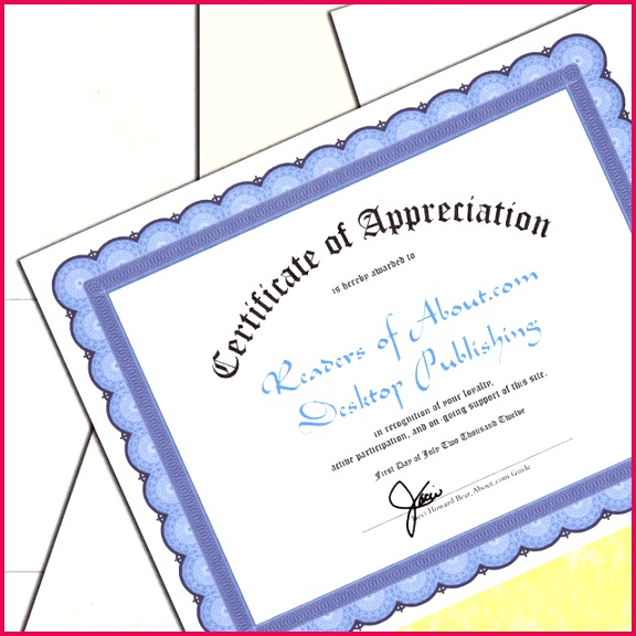 Certificate printed on blue parchment paper