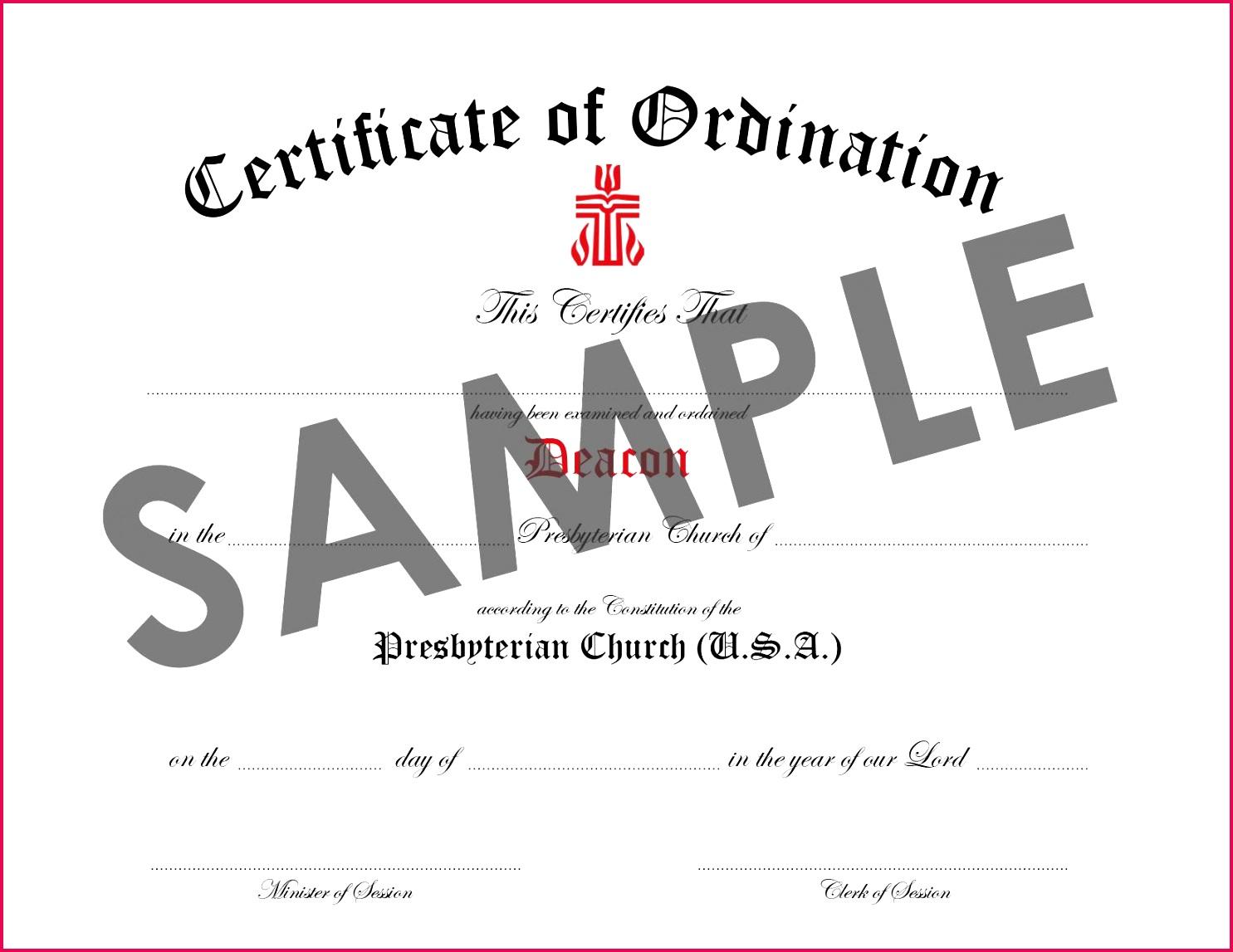 baptist deacon ordination certificate template