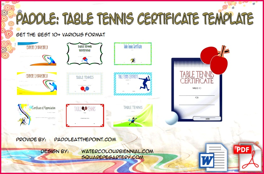 Table Tennis Certificate Template FREE by Paddle