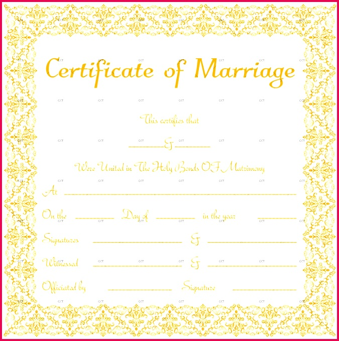 Marriage License Template Frame Size BRW
