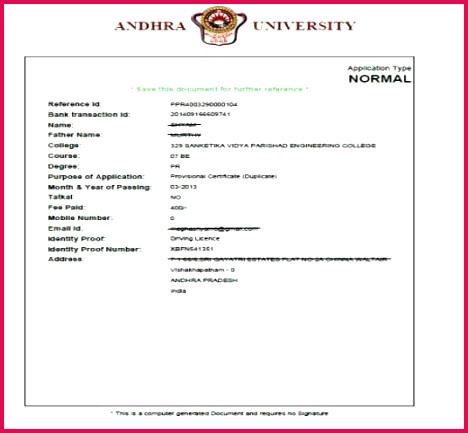 1 Provisonal duplicate certificate