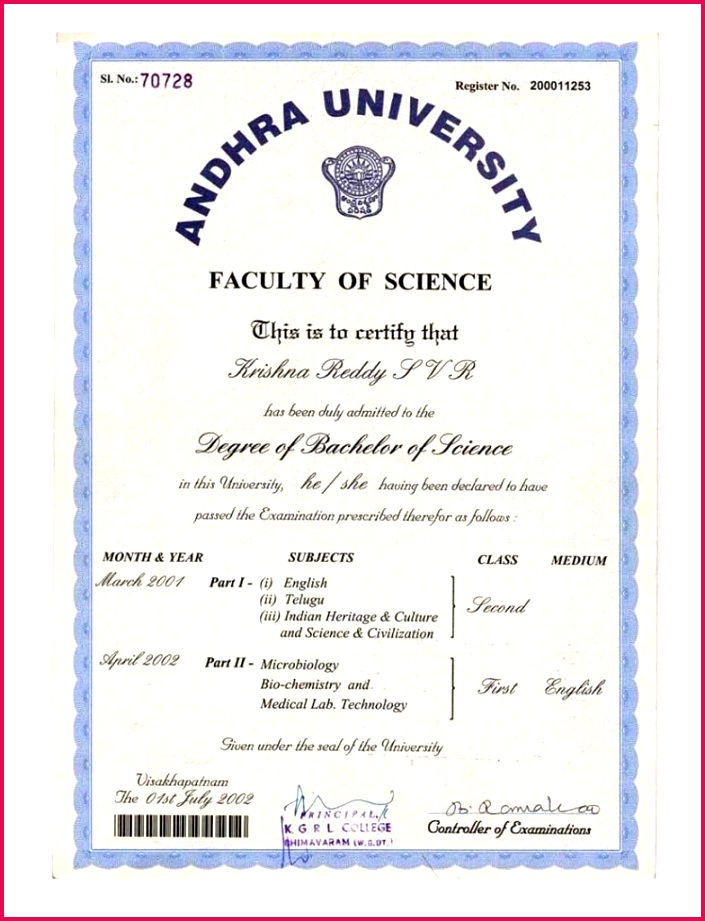 New Andhra University Degree Certificate Sample G New Andhra University Degree Certificate Sample Gallery Certificate