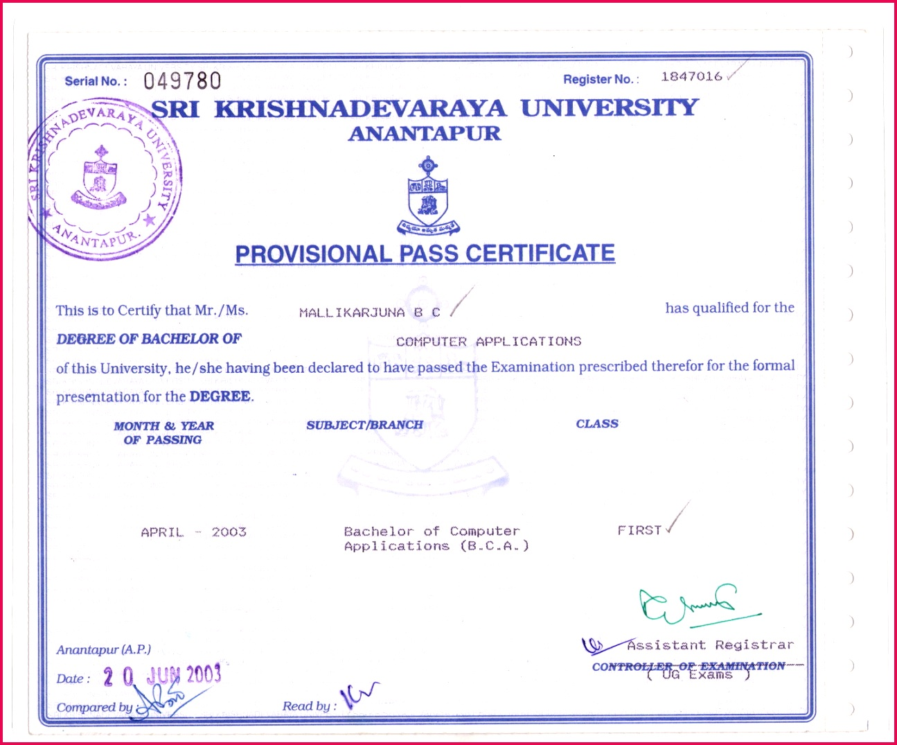 Andhra University Degree Certificate andhra university degree certificate