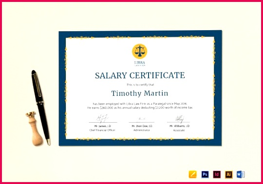 Employee Salary Certificate InDesign Template