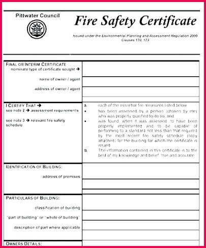 certificate template lovely fire safety free food training templates policy hse plan