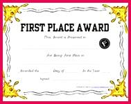 1st place award printable