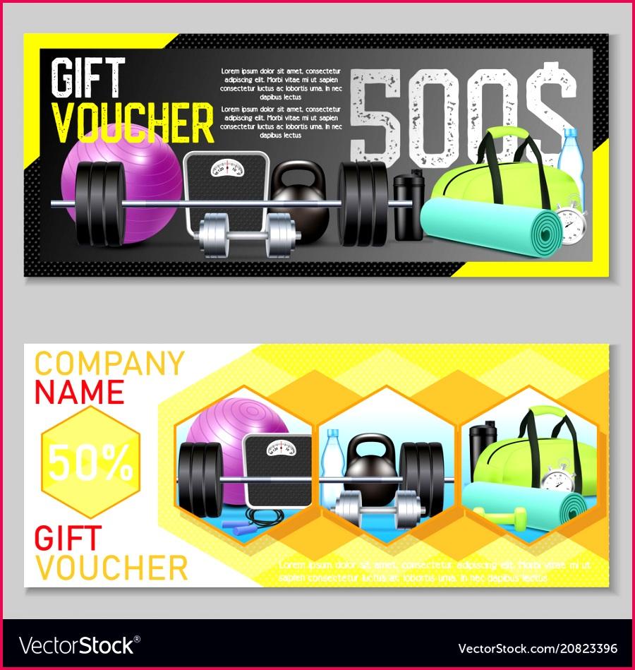 fitness t voucher template set vector