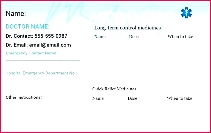 Wallet Card Template Word Free Forklift Certification Download Medical Asthma Emergency Training