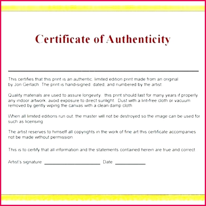 artist certificate of authenticity template artwork art free
