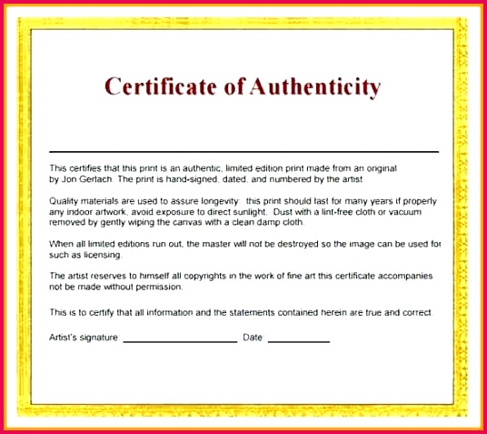 certificate of authenticity template templates free photography