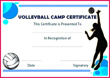 volleyball camp certificate award certificates templates printable free baseball template monster