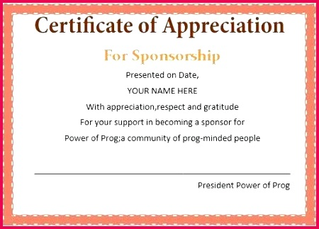 certificate of appreciation wording for sponsors sample church members