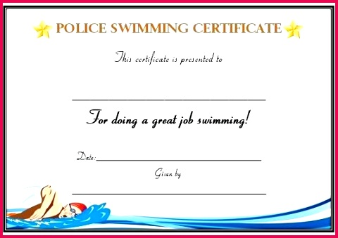 swimming certificate free templates printable word documents levels