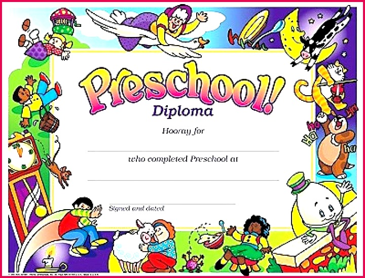 cartoons preschool diploma certificate template graduation certificates free templates