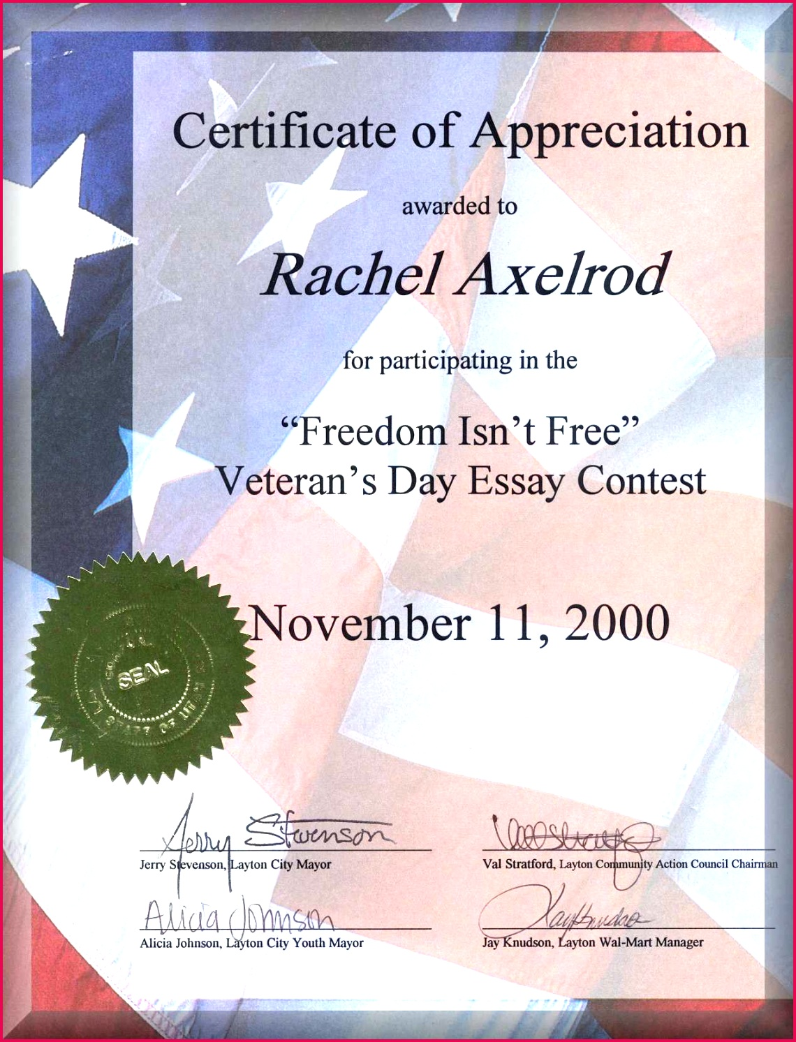 freedom isn t free award november 11 2000 plete veterans appreciation certificate template