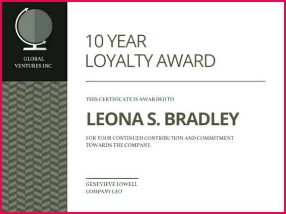 certificate template year service x free clip 10 award