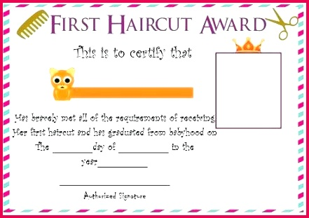free first haircut certificate pin on template fascinating fade