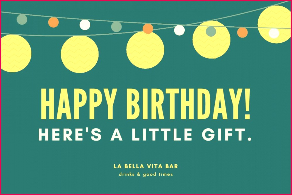 A Green and Yellow Birthday Gift Certificate Template