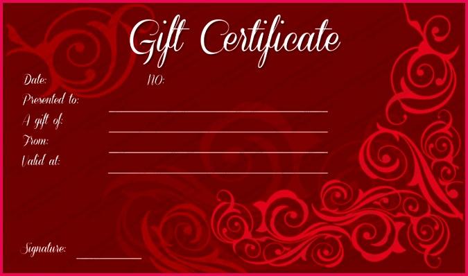 Mahroon Swirls Gift Certificate Template PDF