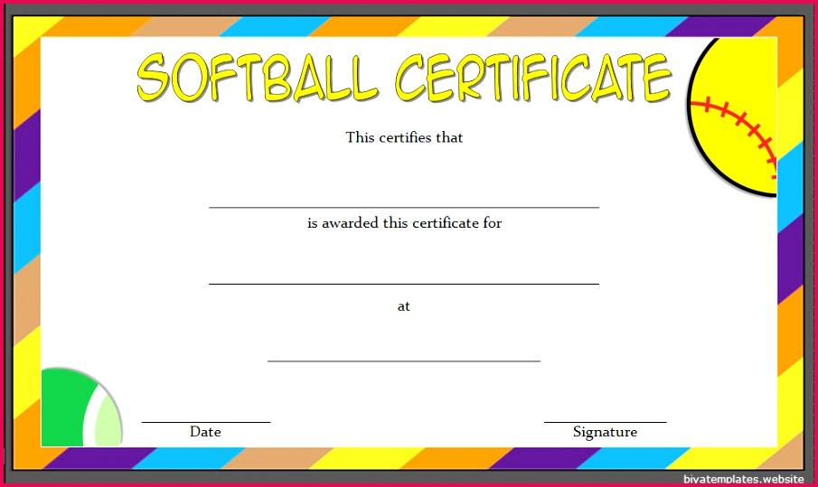 Softball Certificate Template 7