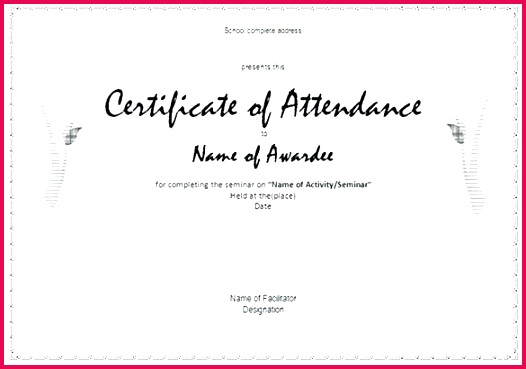 attendance certificate templates free word formats employee perfect template