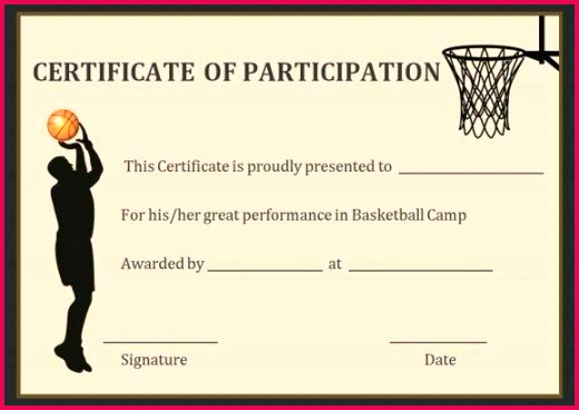 basketball participation certificate free printable certificates templates template te