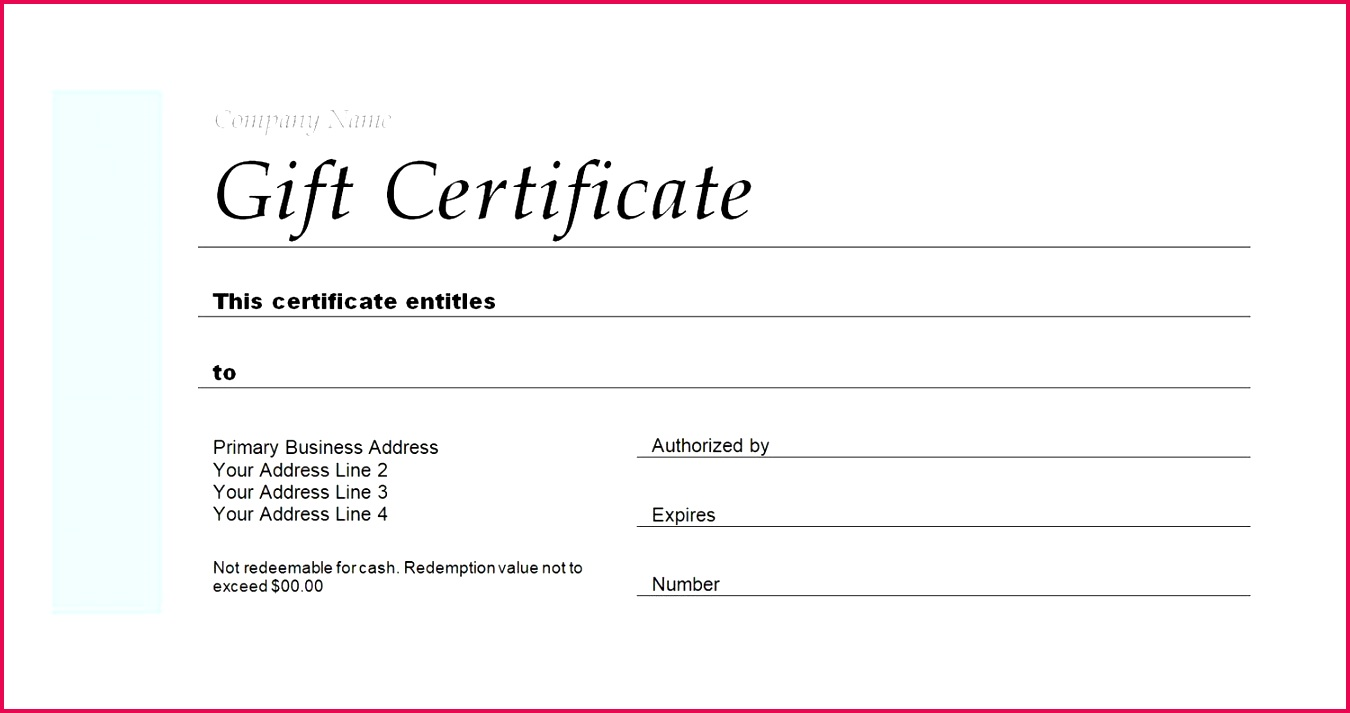 A Gift Certificate Template for a pany