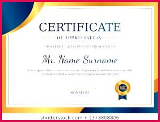 certificate appreciation template gold blue 260nw