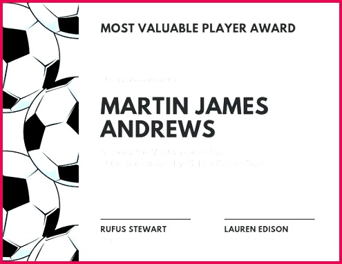 white and black soccer ball sport certificate templates by participation award template mvp