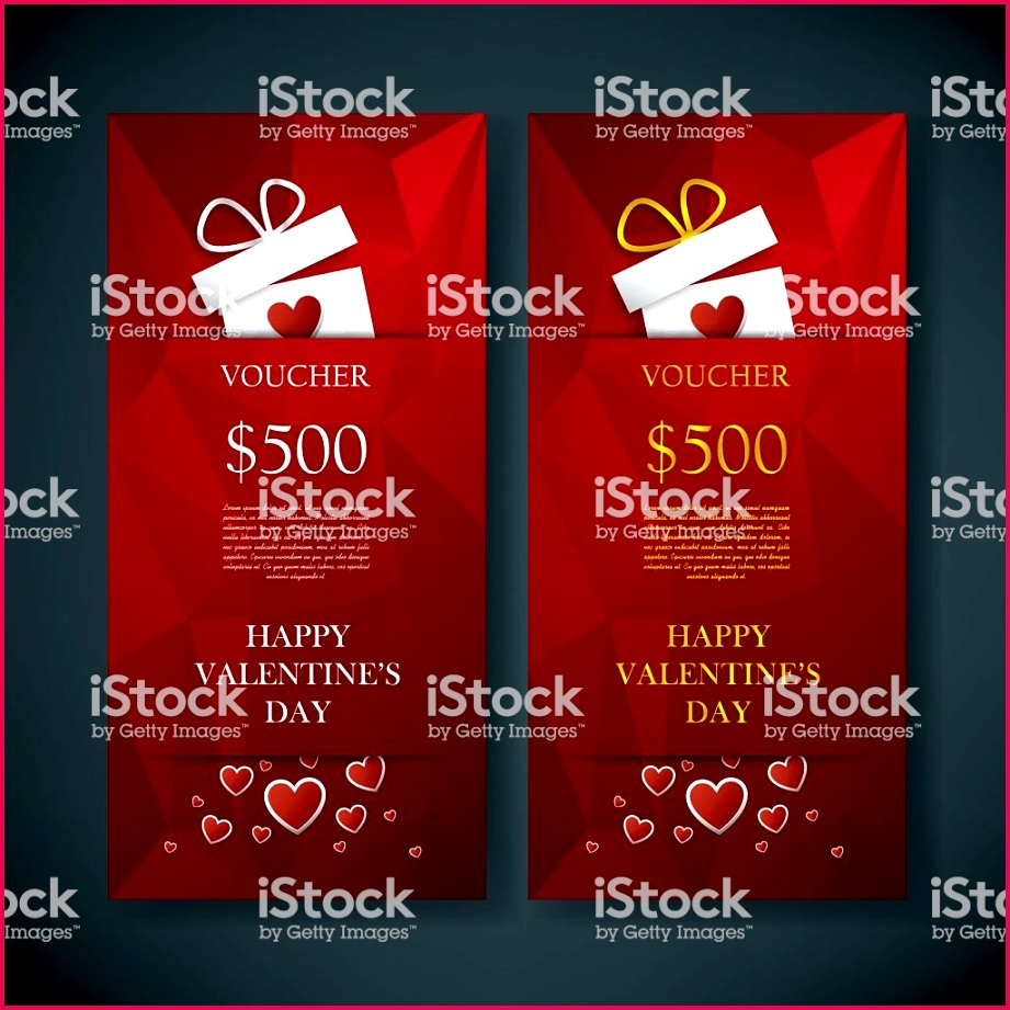 valentines day t card voucher template with traditional background vector id