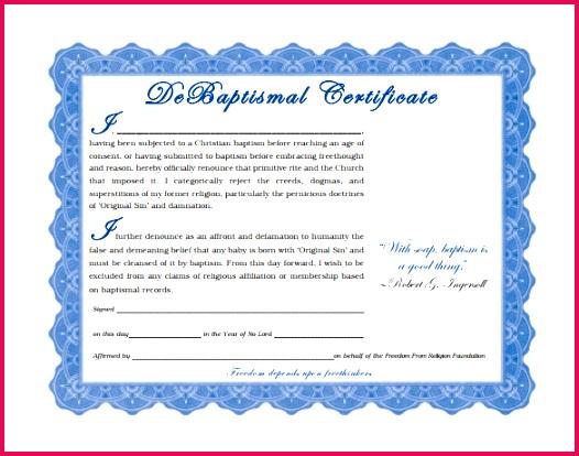 Sample DeBaptismal Certificate